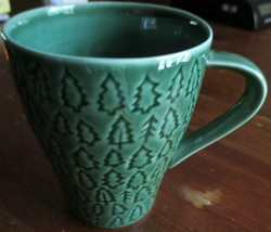 Set 2 Vintage Cup Mug Starbucks 2008 Green Small Trees Design House Stoc... - $29.69