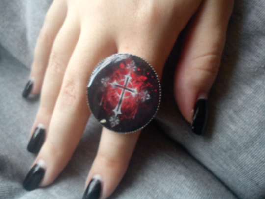 Gothic Cross ring. mysterious, occult, culture, black and red. Gothic symbol  - $22.22
