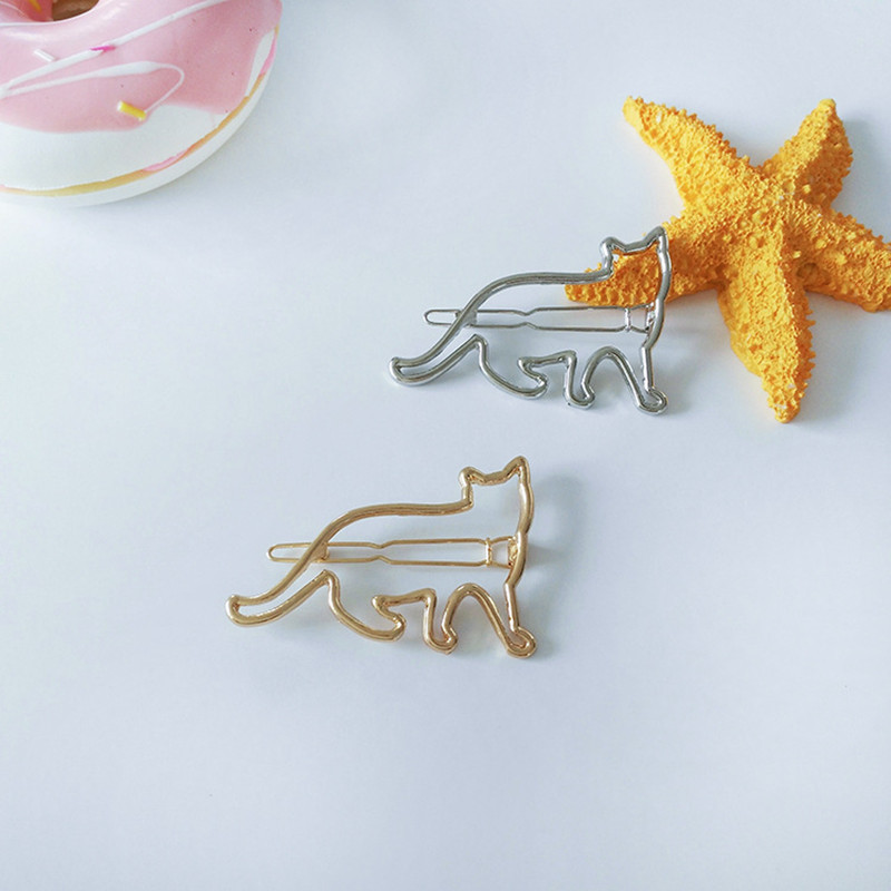 Cute Hollow Cat Hair Clip Girls Hair Accessories Kids Hairpins Minimalist Headwe