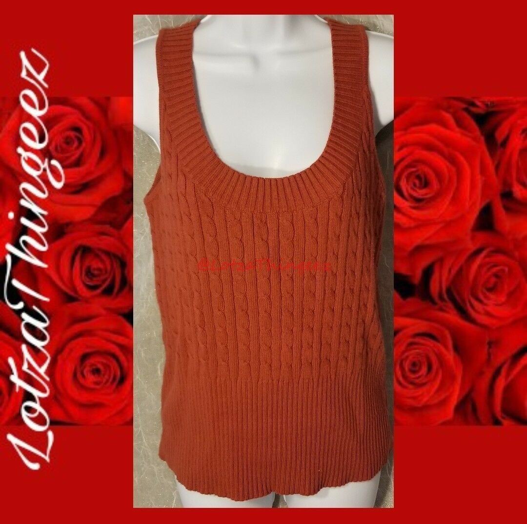 Isaac Mizrahi L Cable Knit Rust Sleeveless Scoop Neck Sweater Cotton Nylon Wool