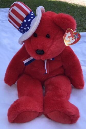 "SAM THE RED BEAR BEANIE BUDDY 2004 MWMT 14"" Patriotic Stars & Stripes Hat"