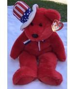 "SAM THE RED BEAR BEANIE BUDDY 2004 MWMT 14"" Patriotic Stars & Stripes Hat - $10.89"