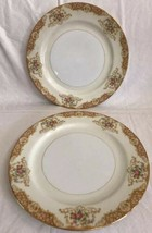 "2 Vintage Noritake M 9.75"" inch Dinner Plates Gold and Rose Floral Trim EUC - $22.76"