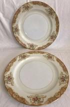 "2 Vintage Noritake M 9.75"" inch Dinner Plates Gold and Rose Floral Trim EUC - $22.99"