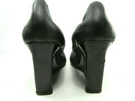 Lanvin Paris Womens Blacl Leather Round Toe Wedge High Heel Pumps Shoes US 10 image 3