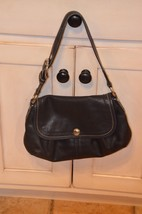 COACH BLACK LEATHER PURSE SOHO PLEATED SHOULDER BAG SILVER HARDWARE F13729 - $22.50