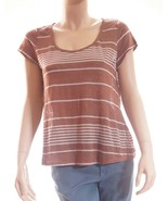 Joie Womens Brown White Linen Striped Scoop Neck Short Sleeve Top T Shir... - $19.99