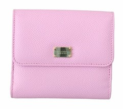Dolce & Gabbana Womens Pink Leather Bill Card Holder Bifold Coin Purse W... - $216.81