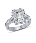Emerald Cut Diamond White Gold Finish Halo Engagement Ring Wedding Ring - $67.99