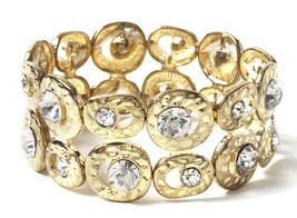 Amrita Singh Gold Crystal Embellished South Beach Stretch Bracelet BRC 5... - $23.27
