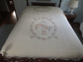 HAND EMBROIDERED Cotton Seersucker DAISY BASKET Bedspread  BED COVER - 7... - $16.95