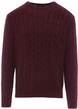 Polo Ralph Lauren Men's Pony Cable Knit Crewneck Sweater BURGUNDY RED PO... - $94.99