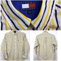 Tommy Hilfiger Mens Size S Shirt Button Front Long Sleeve Flag Logo Stripe A3-7 image 6
