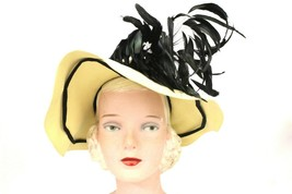 1940s womens Fedora hat ivory Black Feather Spray E.Newman Kennedy Dayto... - $46.73