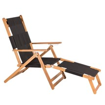 Folding Reclining Chair Black Wood Frame Beach Poolside Patio Comfort Lo... - $125.99