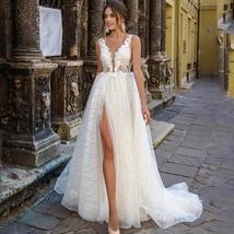 Glittery Princess Side Split V Neck Appliques Lace Boho Wedding Dress