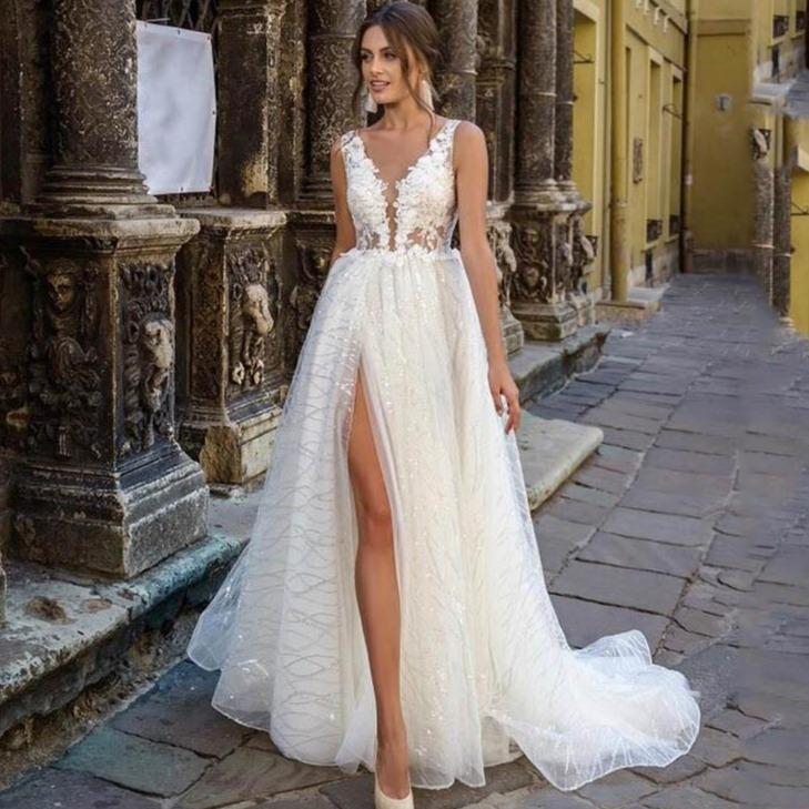 Rincess wedding dress side split glitter sexy v neck appliques lace boho bridal dresses vestidos