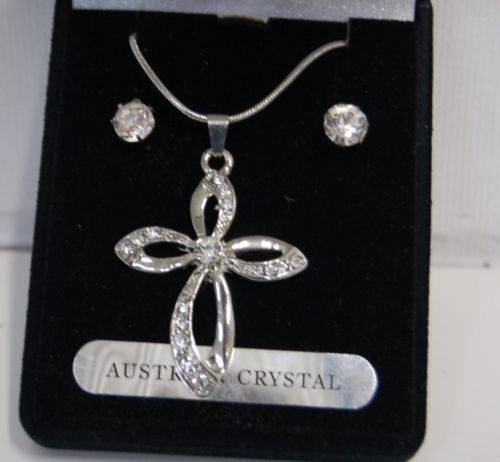 BVT NK Necklace Earring Set Double Design Cross Austrian Crystal Stones