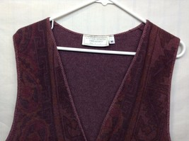 United States Sweaters Purple Patterned Button Up Vest Sz M  image 2