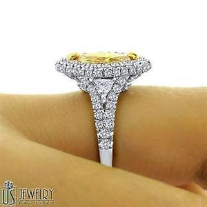 GIA 2.78 TCW Brown Yellow Marquise Cut Trillion Side Diamond Engagement Ring 18k
