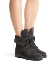 New STUART WEITZMAN Size 7 YADASTUD Gray Fold Down Studded Ankle Boots - $239.00