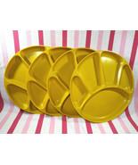 Groovy 1970's MoD 4pc Fondue Plates Harvest Gold 5 Sections Fab Melamine... - $10.00
