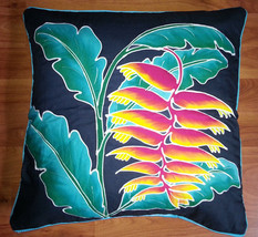 New Handpainted Batik Tropical Heliconia 23X23 Inch Cotton Pillow Cover ... - $23.38