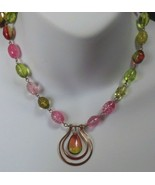 "Vintage Signed MONET Pink & Green Glass Bead Pendant Necklace 18"" - $24.26"