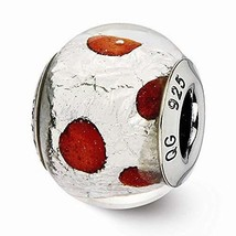 Sterling Silver s Italian Murano Silver & Red Glass Bead by Reflection B... - $25.26
