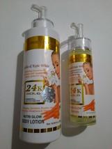 24k gold nutri set 150000 pro glutathione kojic white body lotion+ serum - $80.19