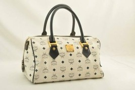 MCM PVC Leather Hand Bag White Auth 10527 - $160.00