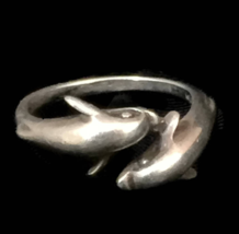 Vintage Dolphin Sterling Silver Handmade Ring or Band Size 9 Two Dolphins  - $35.00