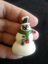 Vintage Signed Coro White Enamel Snowman Pin Brooch - $25.00