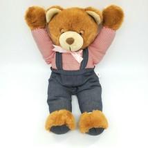 "18"" Vintage RARE Brown Bear Yawns Blue Overalls Plush Stuffed Animal Toy... - $199.99"