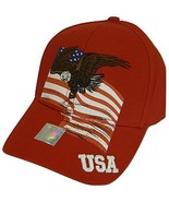 USA Men's Patriotic American Bald Eagle Adjustable Baseball Cap (Red) - $12.95