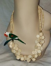 """Vintage Tropical Hand Painted Wood Parrot Bird Pendant Bead Necklace 24"""" - $11.76"""