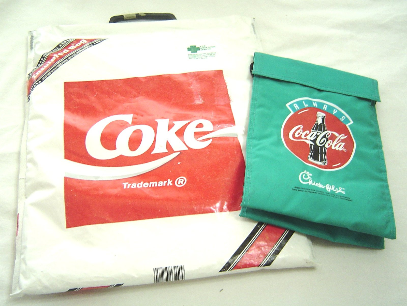 Primary image for Vintage COCA COLA Soft Cooler Insulated Bag Chick -fil-A Tote Lunch Bag Green