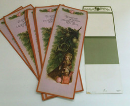 vintage Christmas mailing folding note cards lot doll toy tree front hallmark  - $19.75