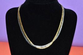 AVON Statement Chain Necklace Fashion Chic Jewelry Gold Silver Tone Bib Vintage - $7.67