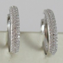 White Gold Earrings 750 18K Circle, Diameter 2 cm, Triple Row Zircon, 3 MM image 2