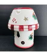 "Christmas Ceramic Lamp Shade Candle Holder Set 4"" Jar Flameless Red Vintage - $34.64"