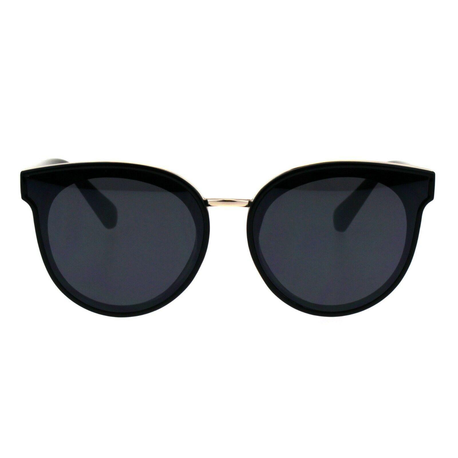 Womens Round Horn Rim Color Mirror Panel Lens Mod Retro Sunglasses