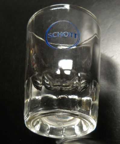 Schott Shot Glass Clear Glass with Heavy Base Double Size Blue Schott Logo