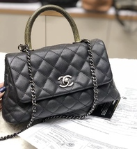AUTHENTIC CHANEL QUILTED BLACK CAVIAR SMALL COCO PYTHON HANDLE BAG RECEIPT RHW