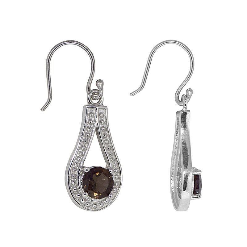 New Designer Round Smoky Quartz Gemstone 925 Sterling Silver Earring SHER0312