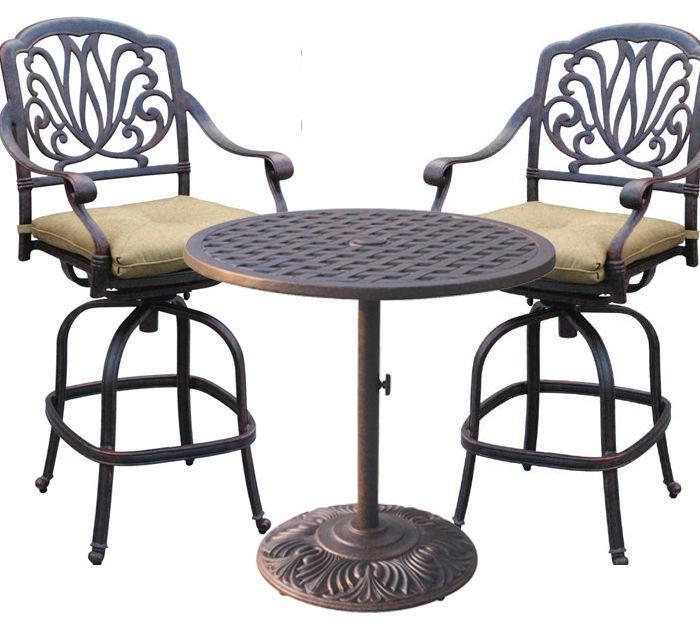 Outdoor bistro set cast aluminum furniture Elisabeth bar stools Nassau table