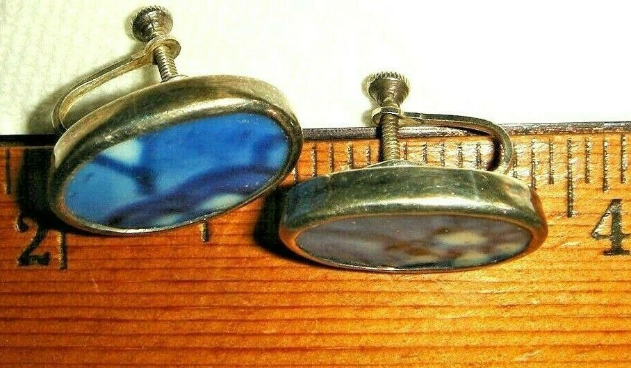 VTG STERLING SILVER HANDMADE RARE OOAK BROKEN CHINA PIN SKREWBACK EARRING SET 2