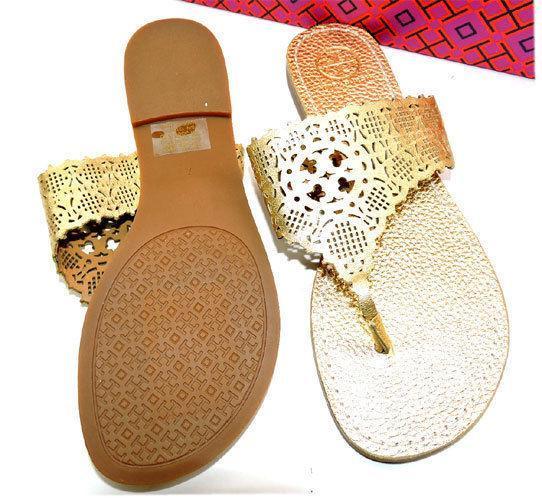 21dadb15bbf ... Tory Burch Roselle laser-cut Gold Leather Sandals Flat Shoe Flip Flop 7  Slides