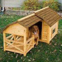 Wooden Barn Dog House Extra Large Big XL Puppy Pet Shelter Kennel Wood w... - $380.22