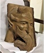 "Vintage Wood log 11"" decorative sculpture of men's head one of a kind  - £123.76 GBP"